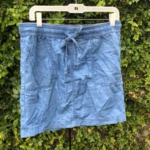 Tommy Hilfiger Chambray Distressed Mini Skirt
